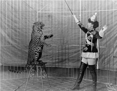 Picture Of Female Lion Tamer And Leopard